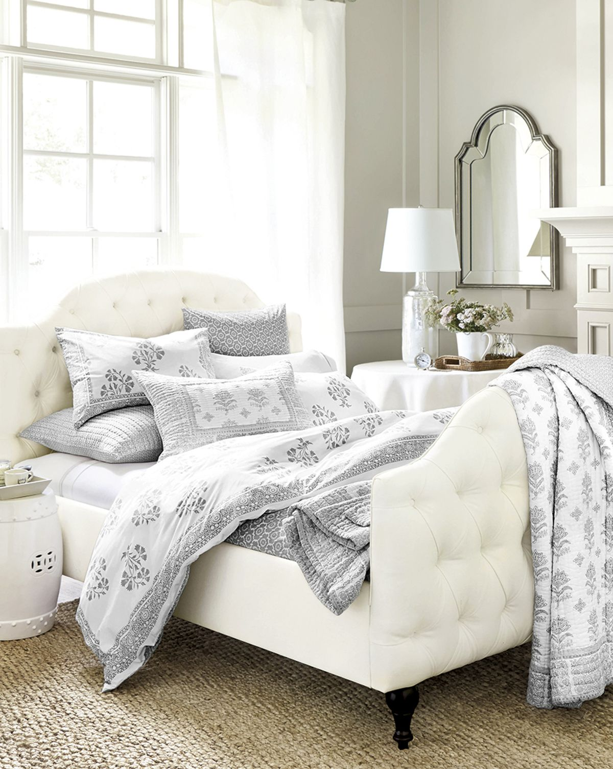 lavender and white bedroom from ballard designs  guest room  - house beautiful