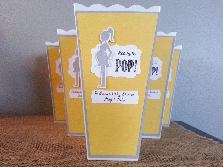 Ready to pop baby shower popcorn favor box ready to pop popcorn box baby shower yellow and gray for Ready to pop popcorn boxes