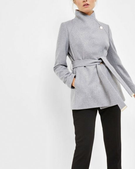 Short wrap coat - Grey Marl | Jackets & Coats | Ted Baker ...