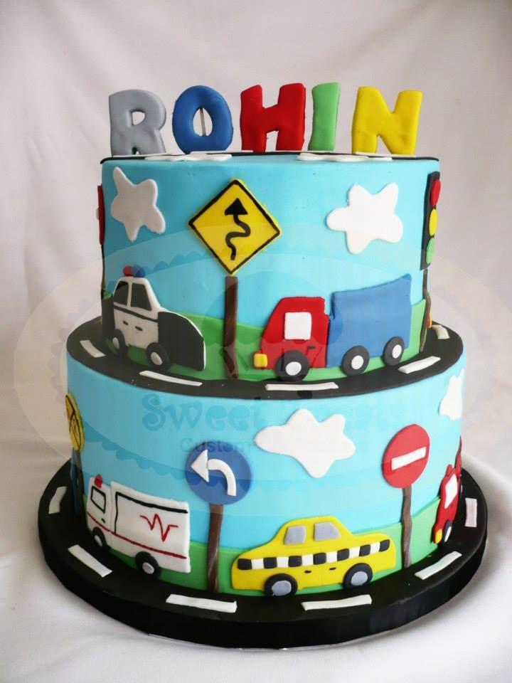 Car Cakes For Boy Birthday : cars and trucks cake Sweet Treats (my work) Pinterest ...