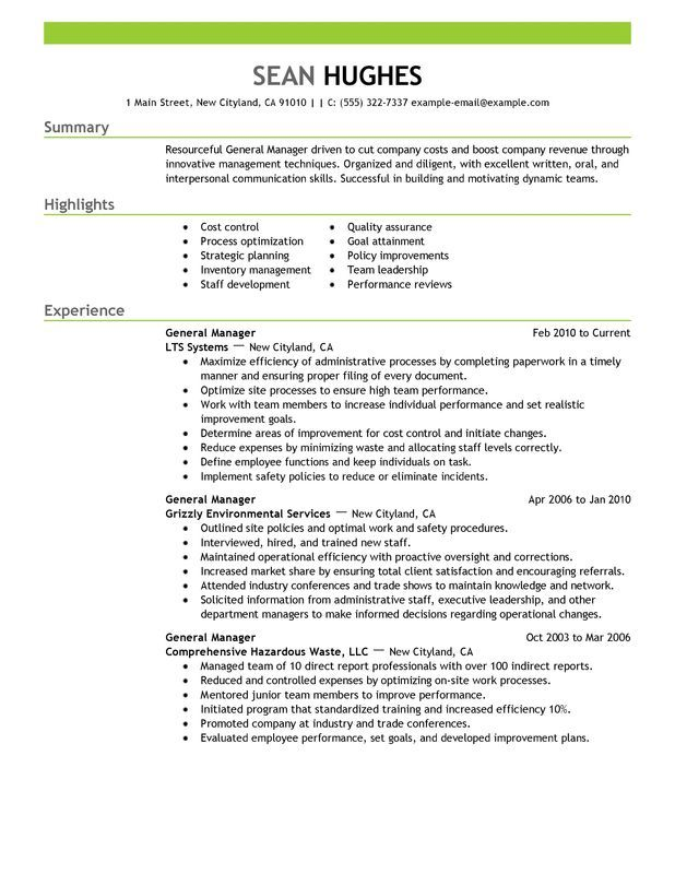 Resume Examples General Manager Resumeexamples