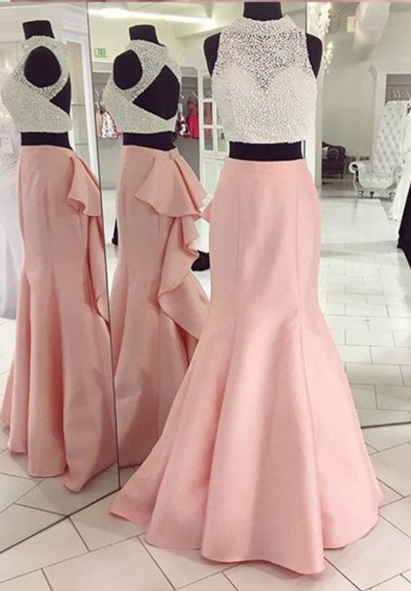 Two Pieces Prom Dress with Pearls Top | Formals | Pinterest | Chicas ...