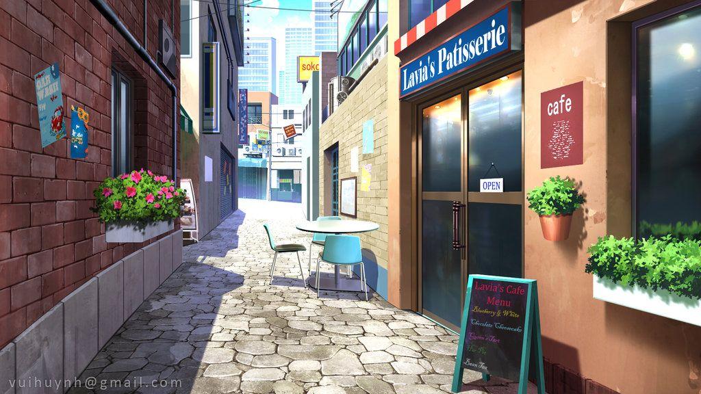 Coffee street Visual Novel background by VuiHuynh