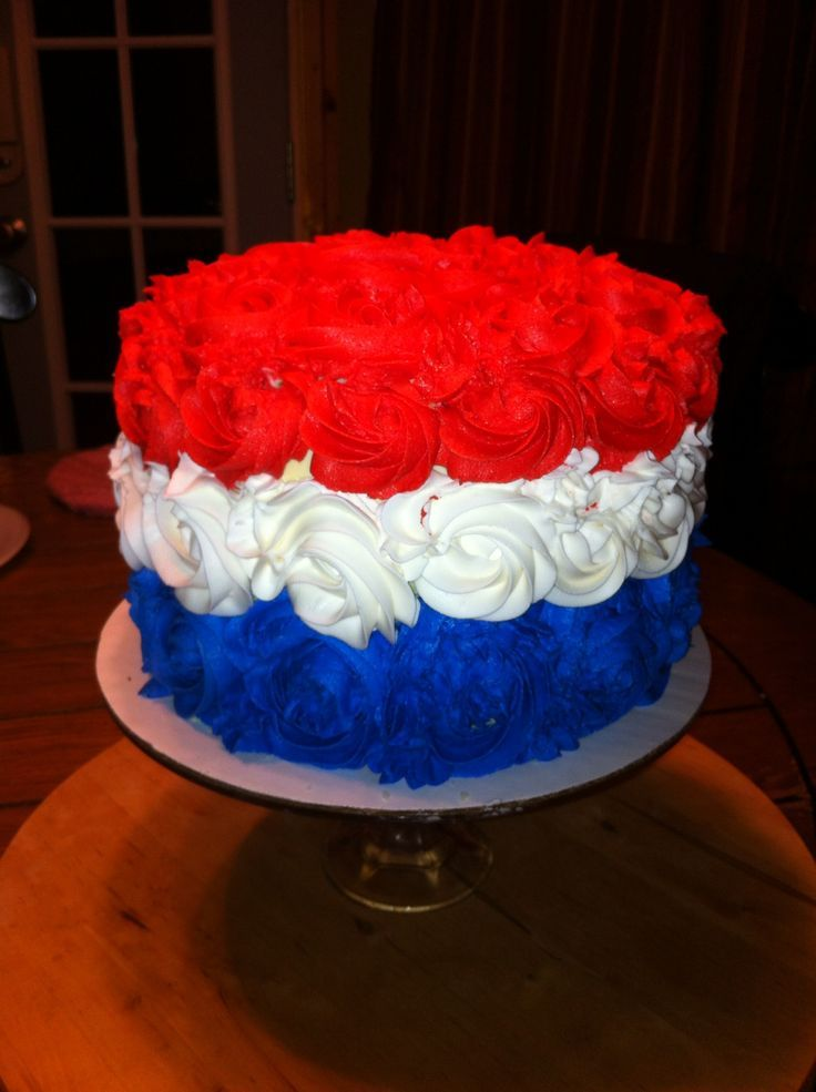 Red White Blue Cake Red White And Blue Rosette Cake Cake