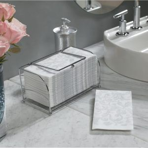 Check Out How Marsee Displayed The Hand Towels In Her Powder Room They Are Easy For Guests To Fi Bathroom Towel Decor Bathroom Hand Towels Display Powder Room