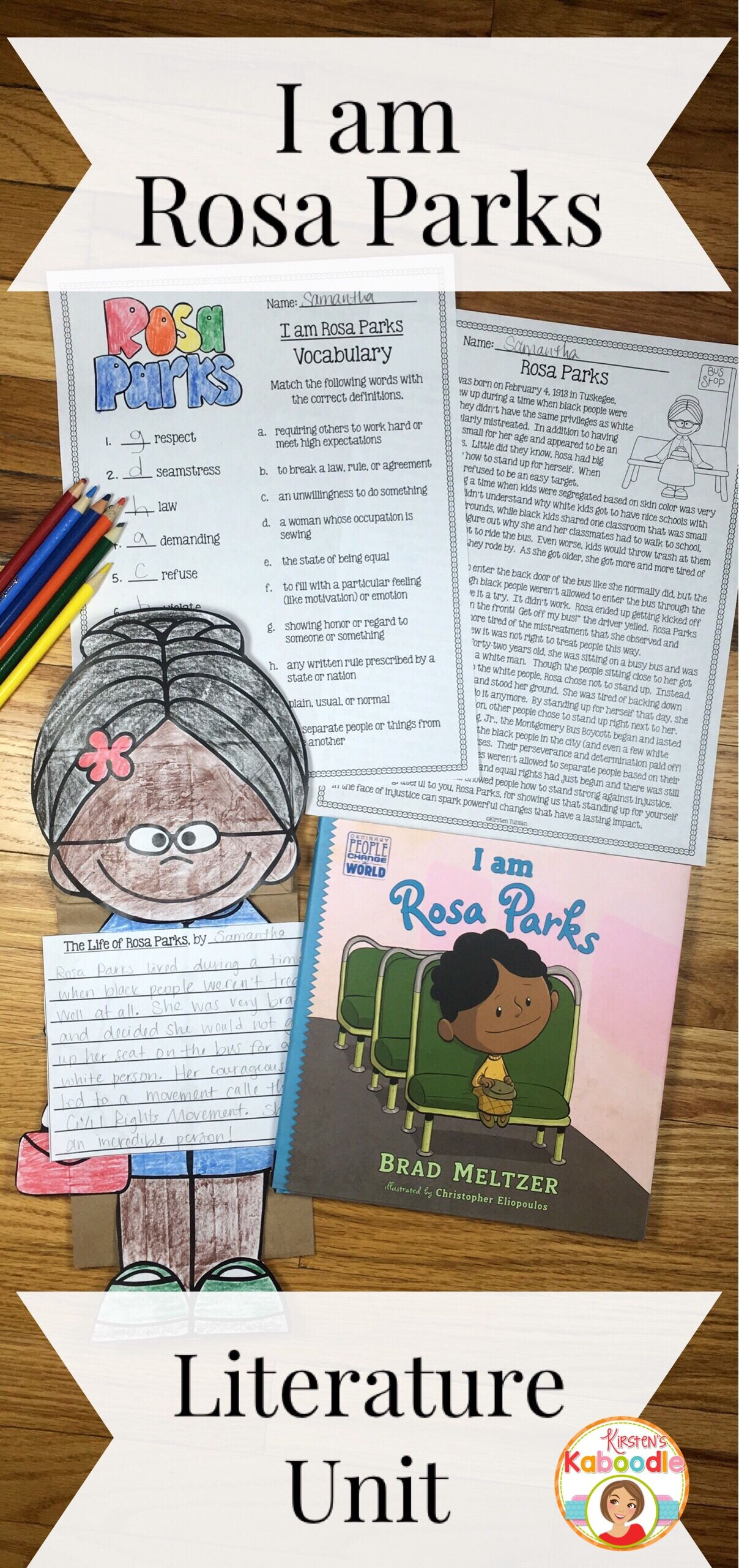 I Am Rosa Parks Is A Fantastic New Biography By Brad Meltzer This Easy To Use Literature Companion Requires No P Rosa Parks Rosa Parks Activities Brad Meltzer