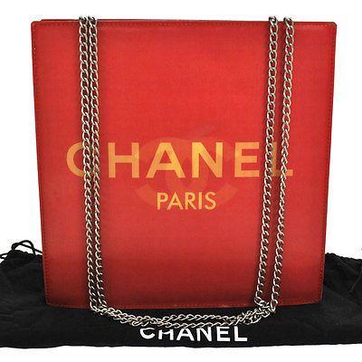 2cde13ac815b Auth-CHANEL-CC-Logos-Hologram-Chain-Shoulder-Bag-Red-Vinyl -Vintage-France-G01596