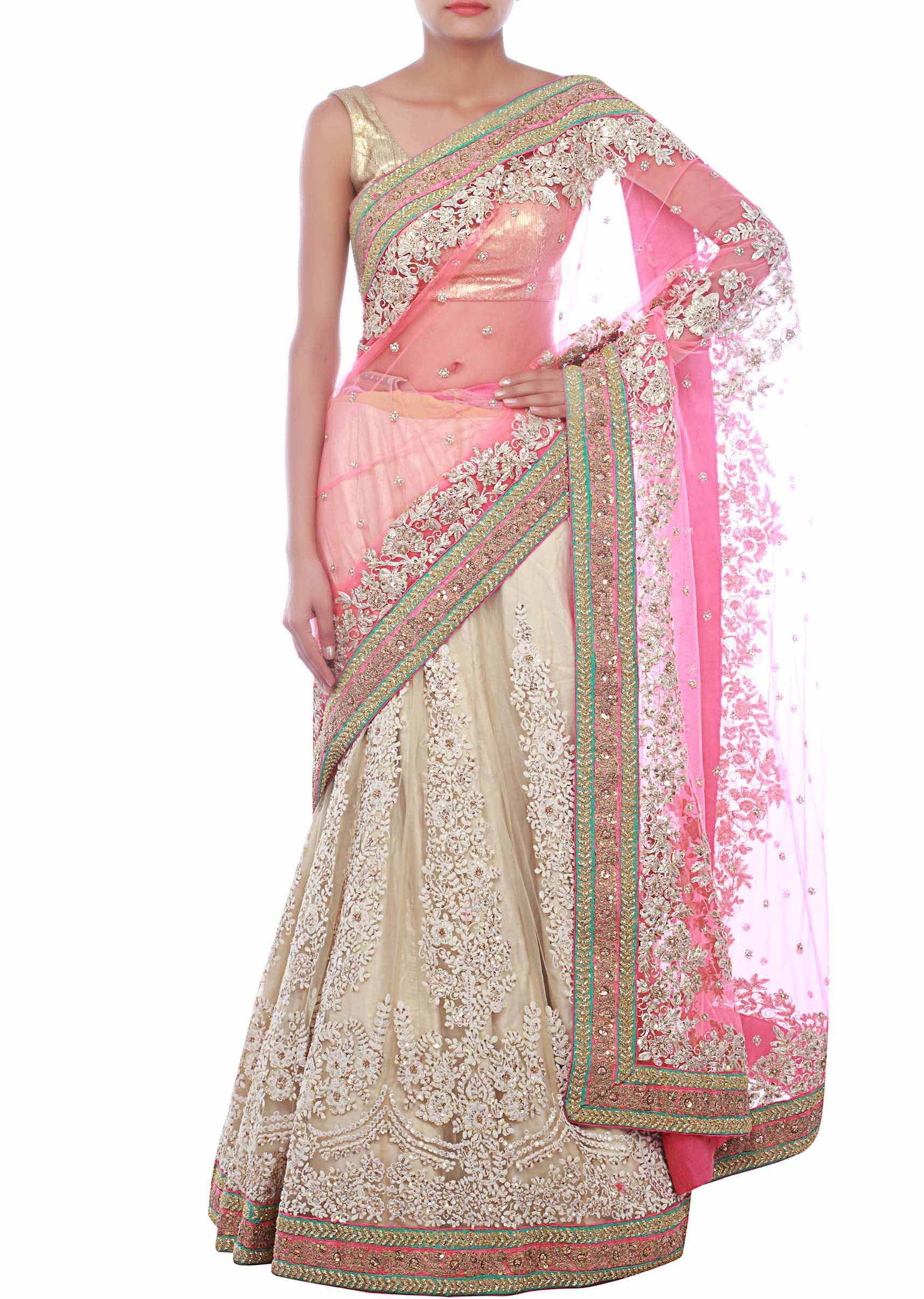 Pink nd beige lehenga saree embellished in kardana and thread