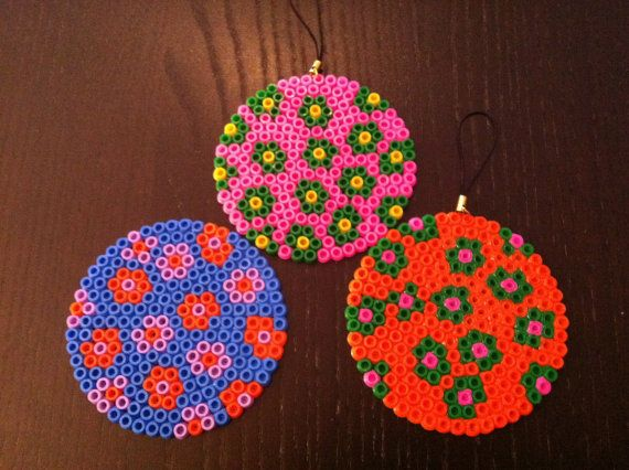 Handmade Christmas decorations - round millefiori pendants - fuse beads. $17.00, via Etsy.