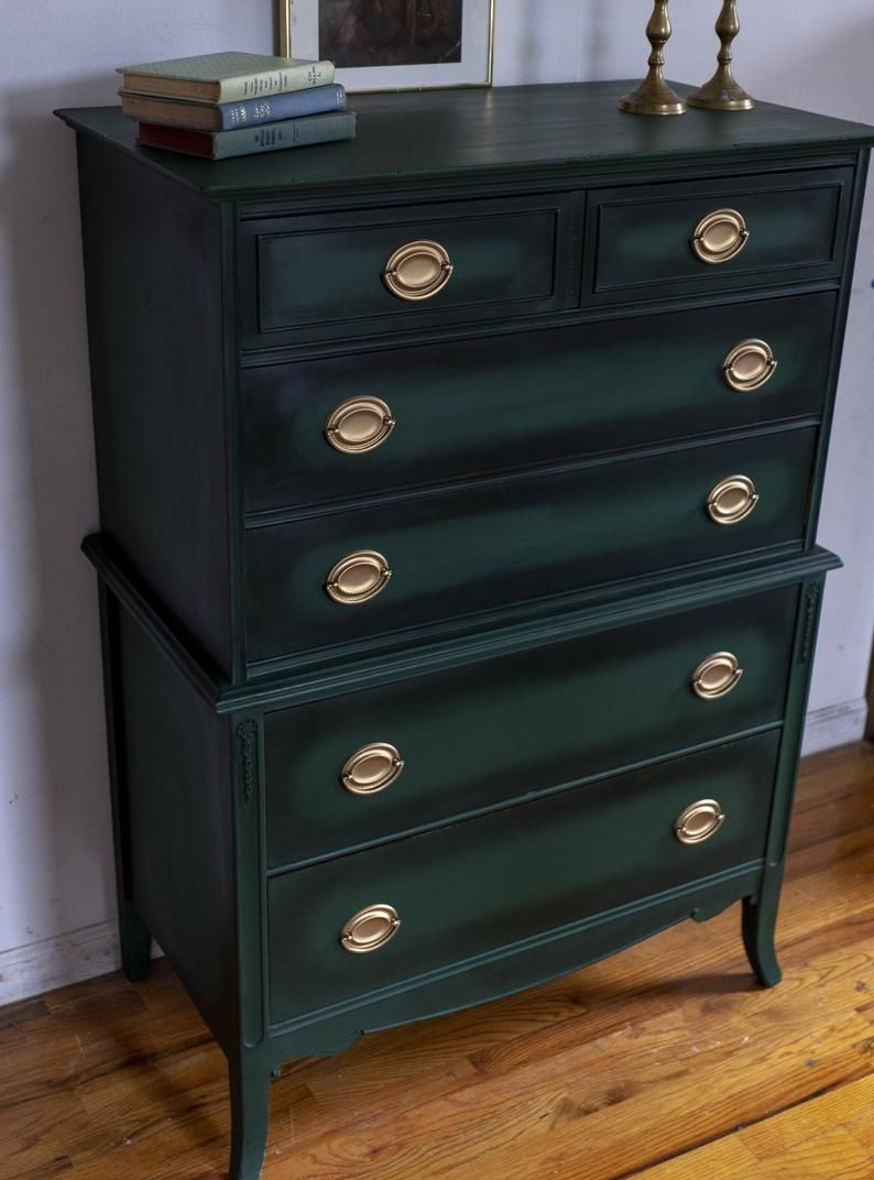 Sold Green Antique Dresser Forest Green Chest Vintage Dresser Federal Dresser Highboy Dresser Green And Gold Free Nyc Delivery Antique Dresser Vintage Dressers Vintage Bedroom Furniture [ 1072 x 794 Pixel ]