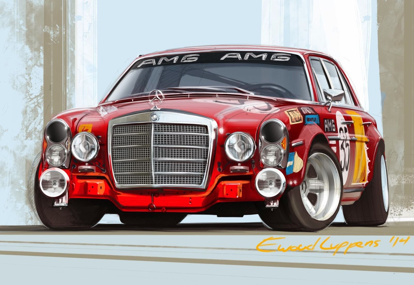 Mercedes Benz 300 SEL AMG Race Car Art by Ewoud Luppens