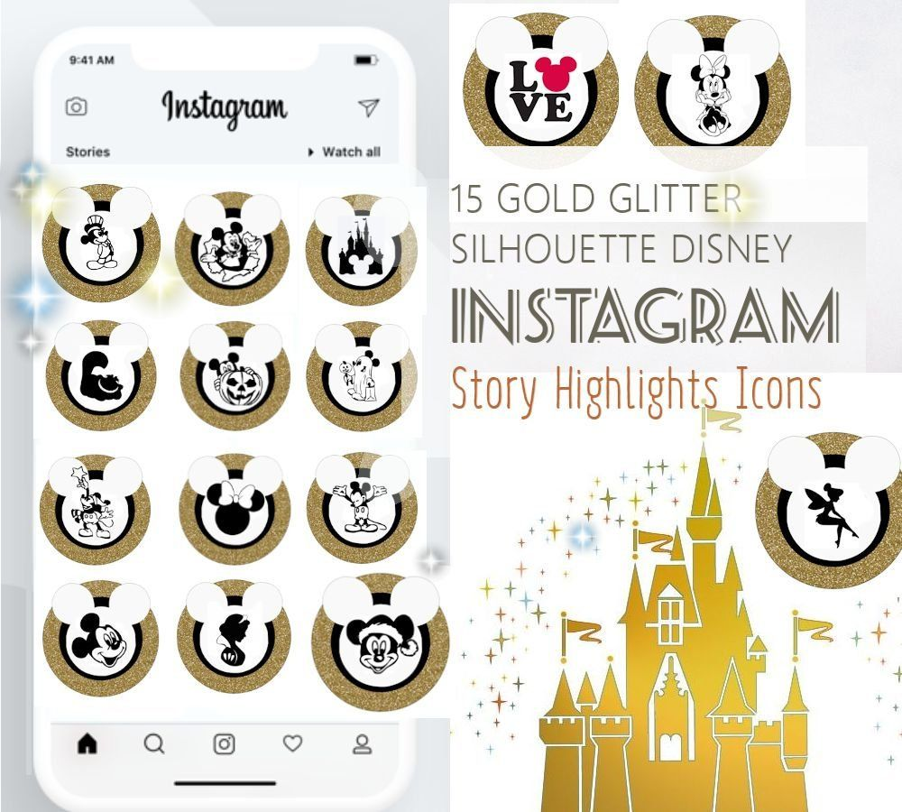 15 Disney Gold Glitter / Black Instagram Story Highlight