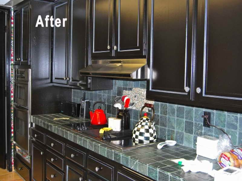 Painted Black Kitchen painted black kitchen cabinets before and after image gallery - hcpr