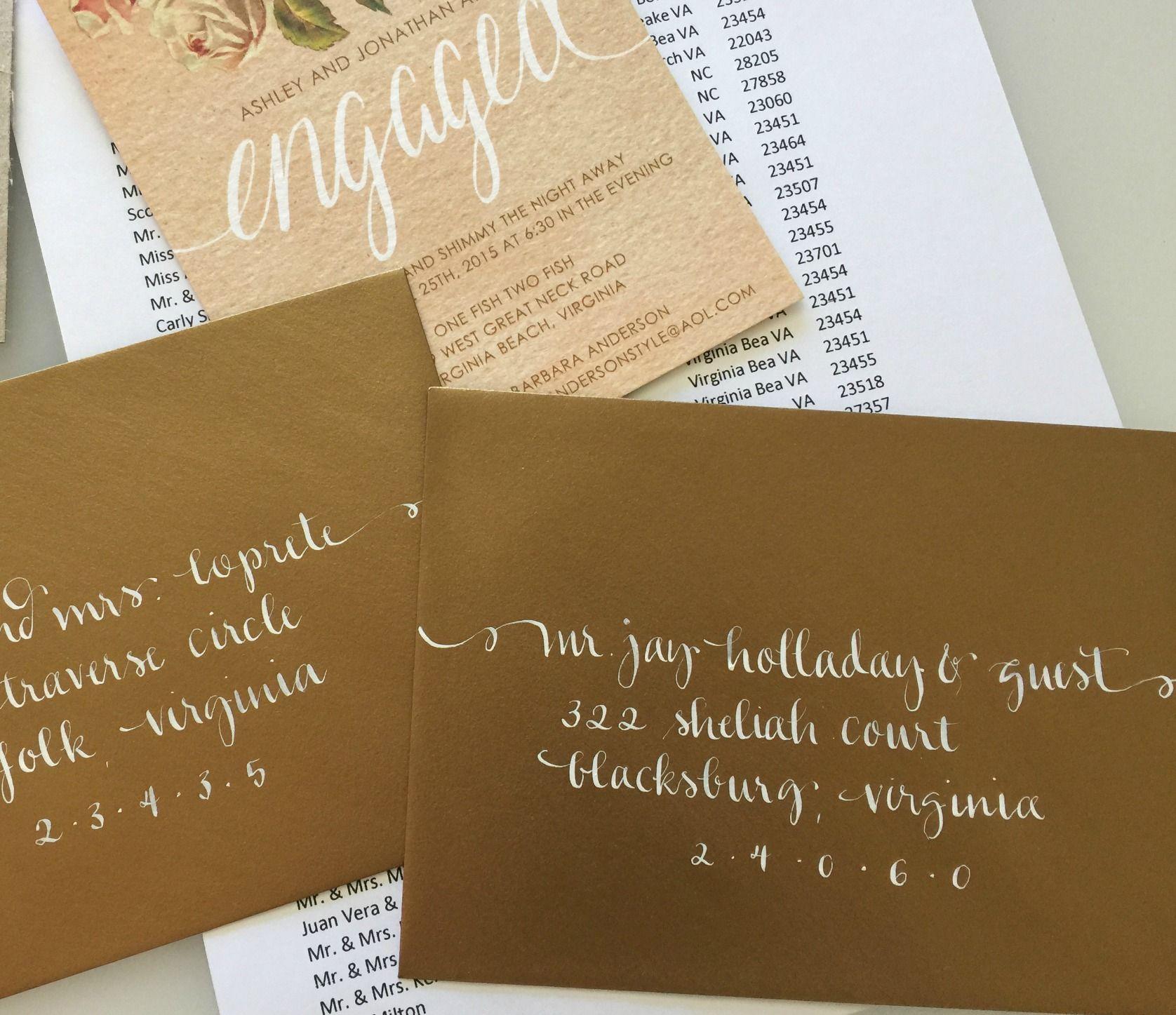 My Calligraphy On Gold Wedding Invitation Envelopes White