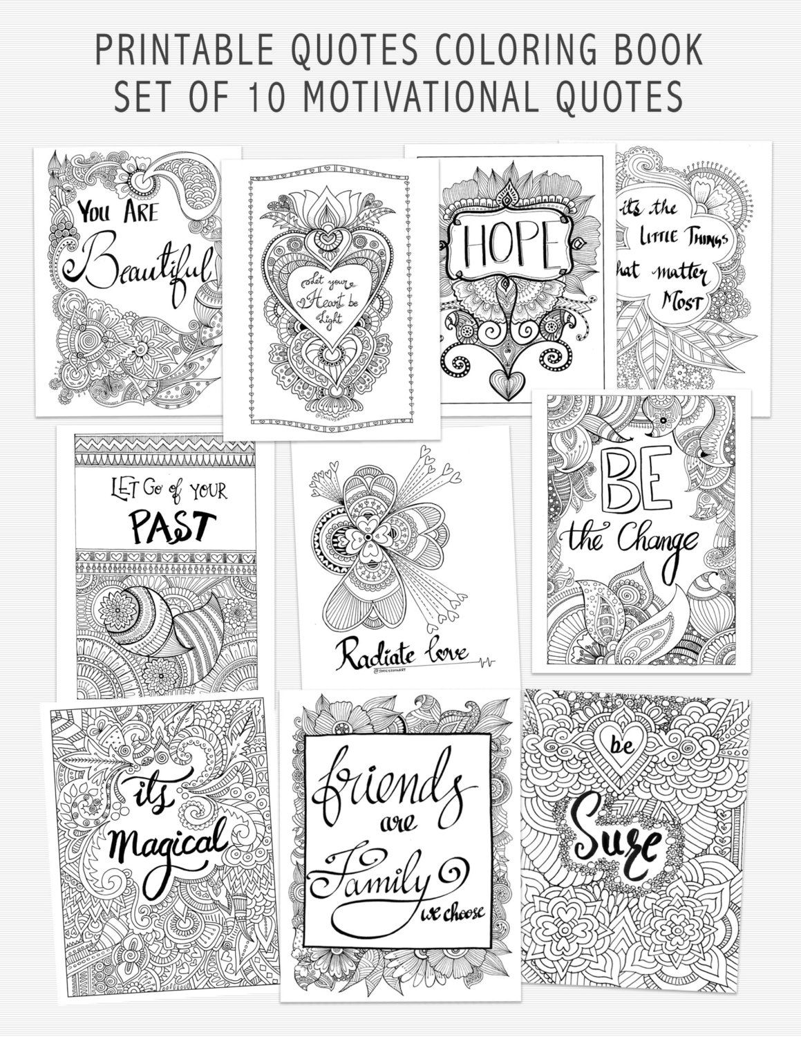 Printable Quote Coloring Book Self Help Adult Coloring