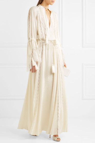 Lace-paneled Silk-jacquard Gown - Ivory Etro Clearance Latest Collections Sale New Original NWdq06z