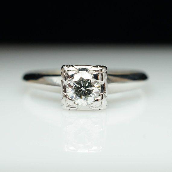 Vintage 24ct Round Brilliant Natural Diamond Engagement Ring