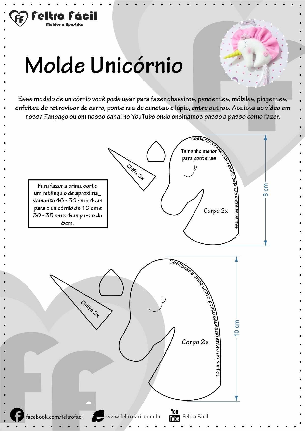 Molde e PAP Unicórnio - Aprenda a Fazer esse Lindo Unicórnio em ...