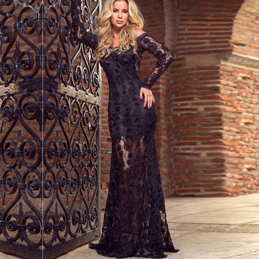 Lace floral off shoulder long sleeve long dress dresses