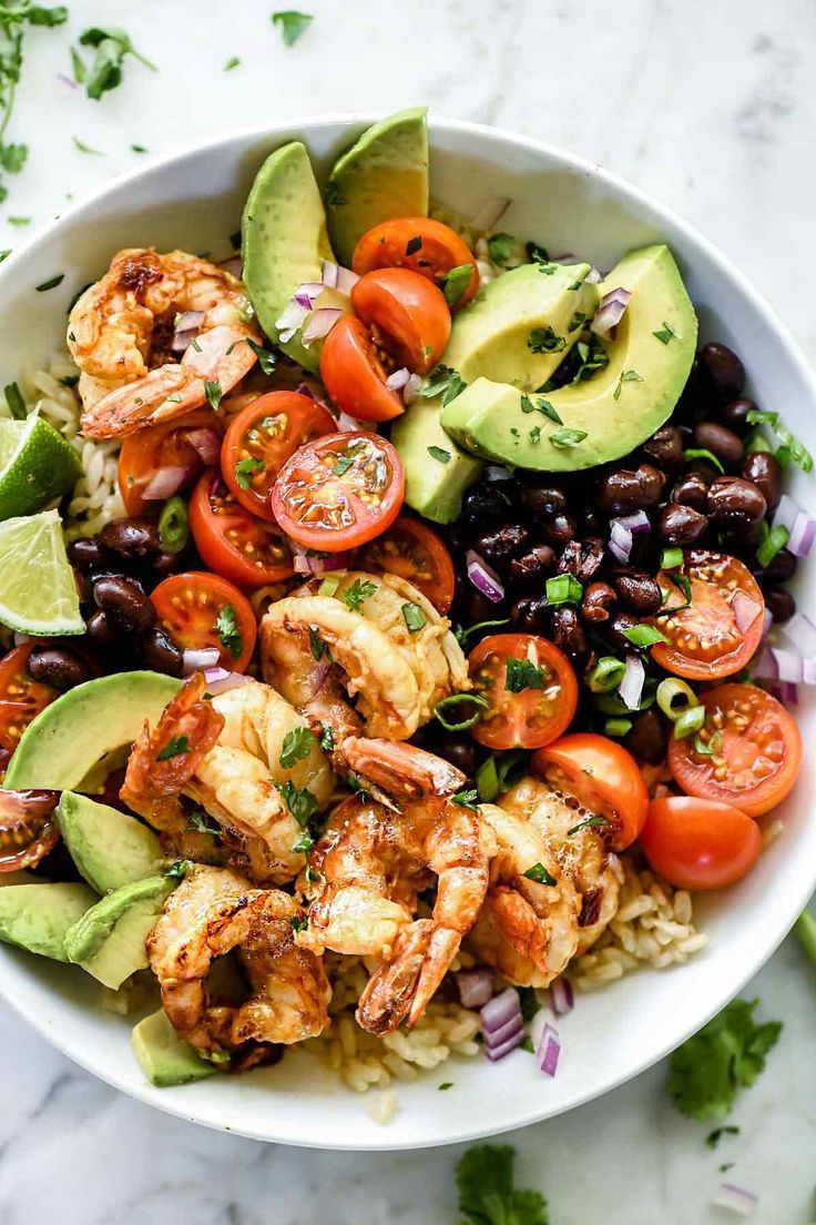 Chipotle Lime Shrimp Bowls #kitchendesignideas