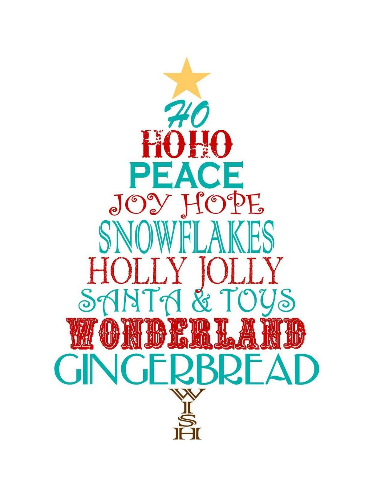 Just devine Style: Free Christmas Word Tree Printable-turquoise ...