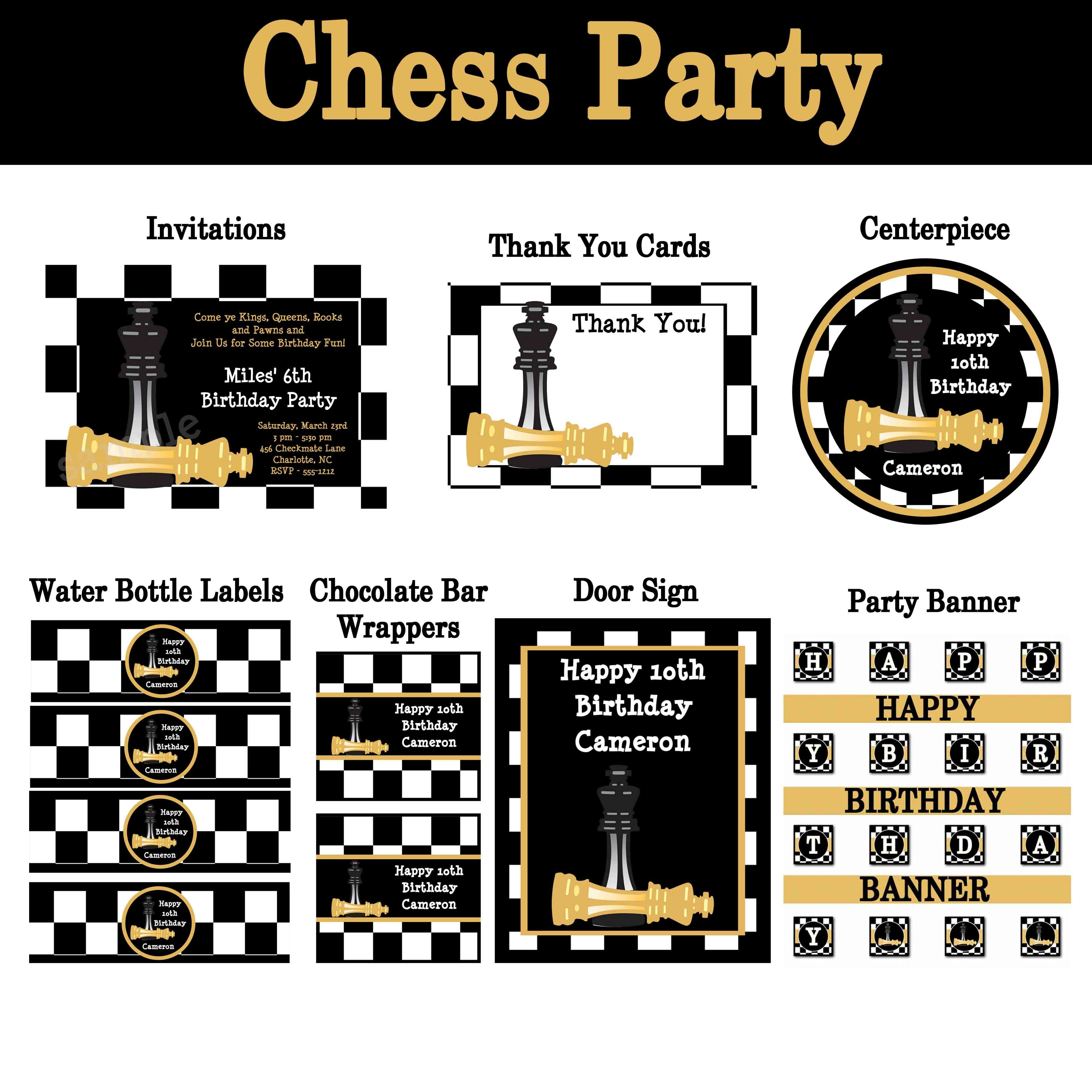 Chess Birthday Party Invitations and Party Decorations #chess ...