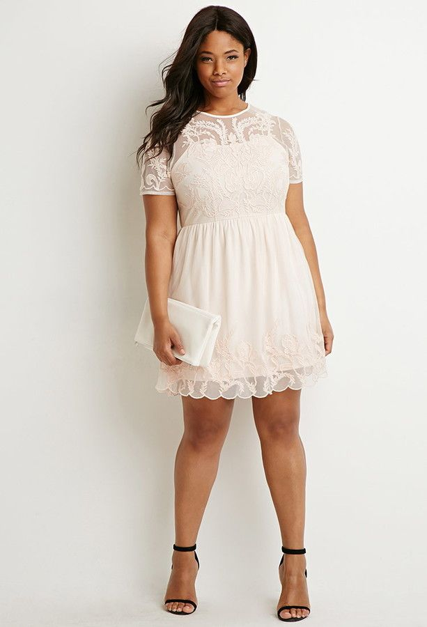 So Beautiful Plus Size Embroidered Fit Flare Dress Plus Size