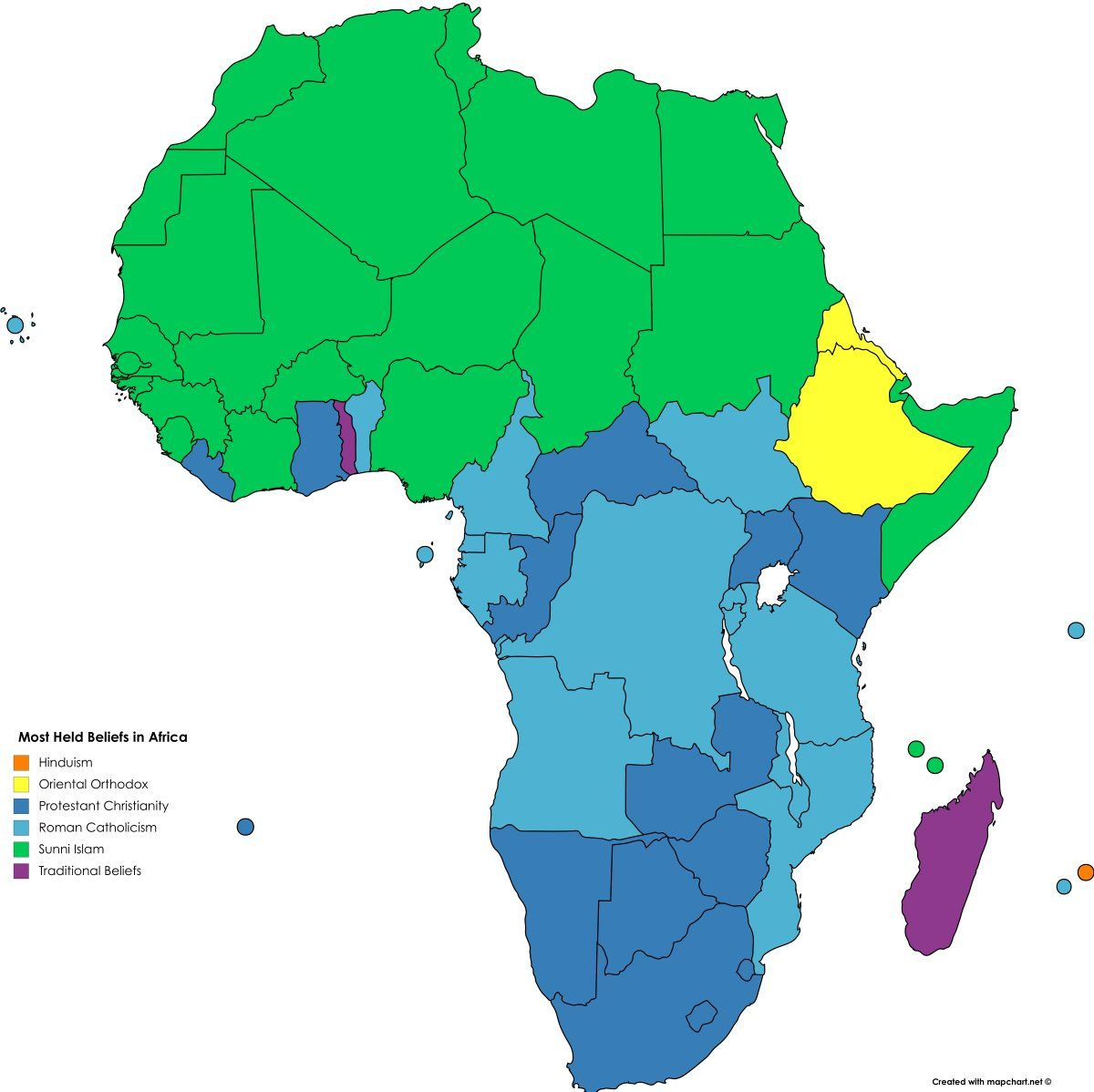 Religion Map Africa Detailed map of the religions of Africa in 2020 | Africa map, Map