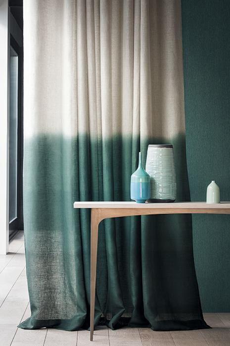 Ombre Tie Dye Vorhang dunkelgrün / Beige von Ohanahomedecor | Deko