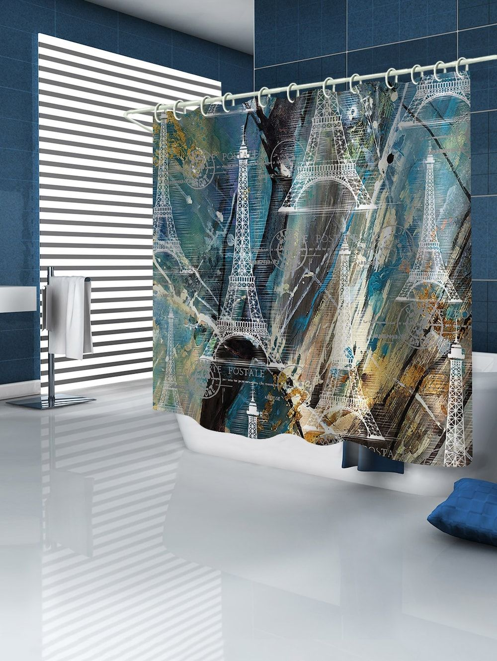Eiffel Tower Painting Background Print Water Resistant Shower Curtain Eiffel Tower Painting