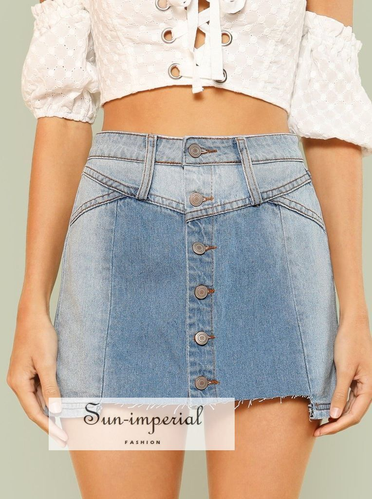 e93725eb785 Light Washed Denim Button Up Mini Skirt - SALE - SII в 2019 г ...