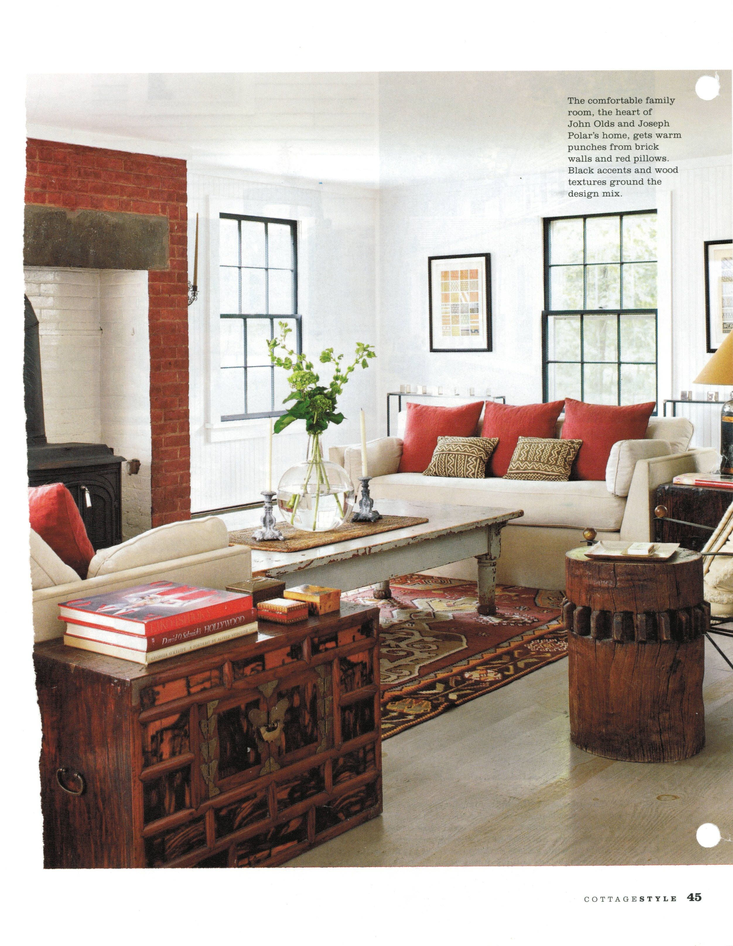 window/furniture placement   Living room red, Red brick ...