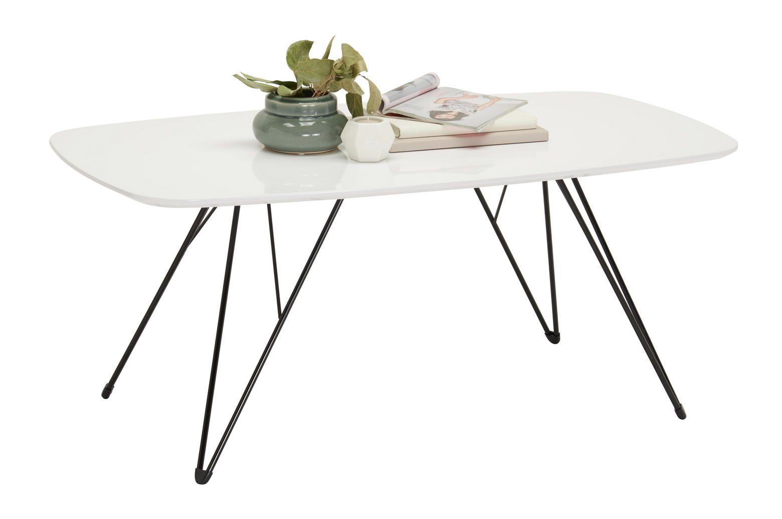 Couchtisch Weiss Mit Schwarzen Metall Fussen Couchtische Tisch