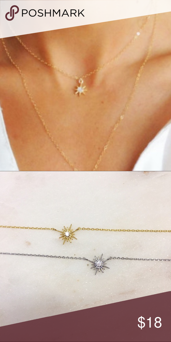 """Starbursts Necklace This beautiful and dainty necklace is the perfect everyday piece to layer or wear alone. Gold filled so will not turn colors, cubic zirconia stones for beautiful shine ✨ 16"""" chain that extends to 18"""". No Trades. Available in silver tone and gold tone. Jewelry Necklaces"""