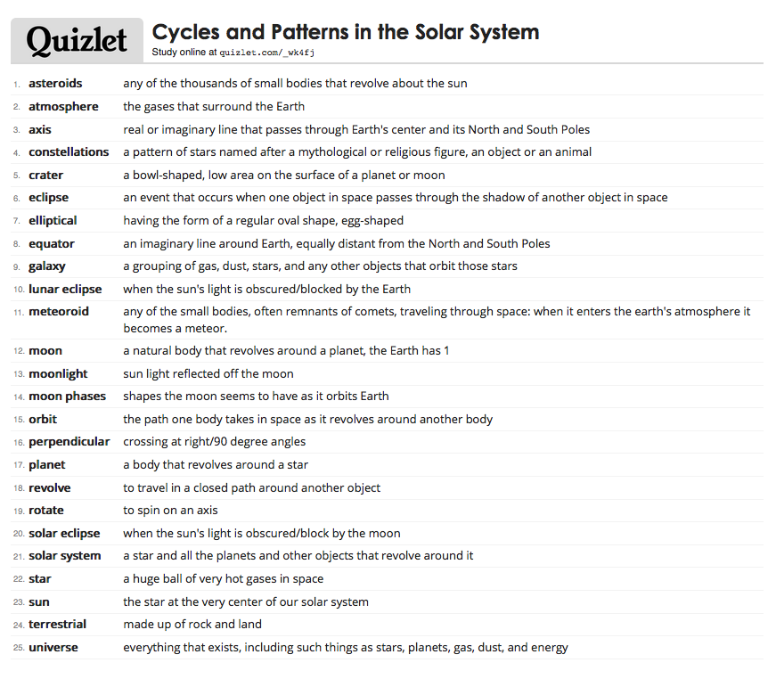 Quizlet vocabulary for solar system students may log into their quizlet vocabulary for solar system students may log into their quizlet account and fandeluxe Choice Image
