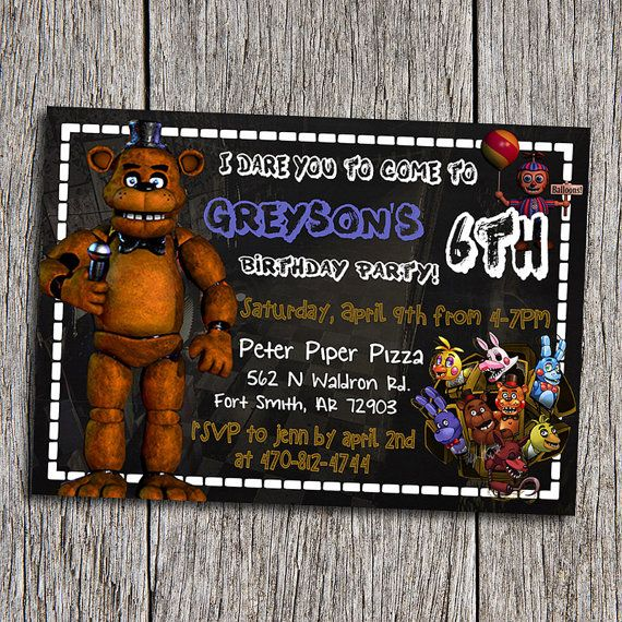 DIY Printable Five Nights At Freddys Birthday Invitation By Purchasing You Are Agreeing With My Shop Policies