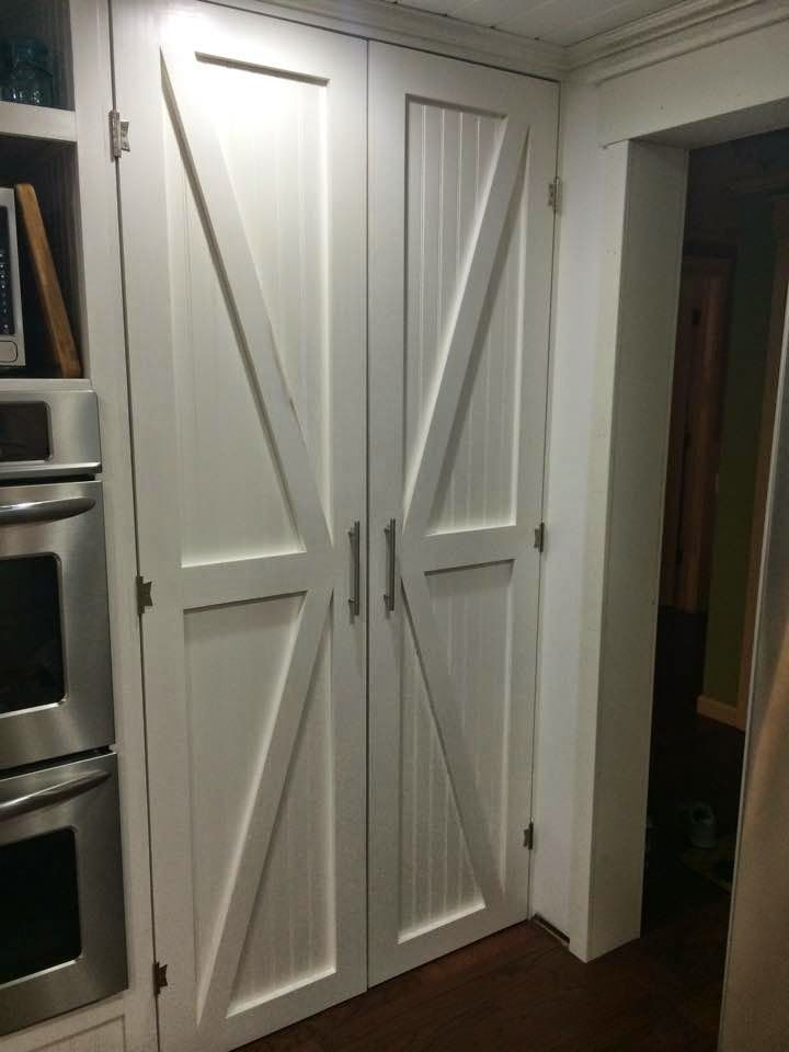 One thrifty chick diy barn style pantry doors for the for Cheap sliding screen doors
