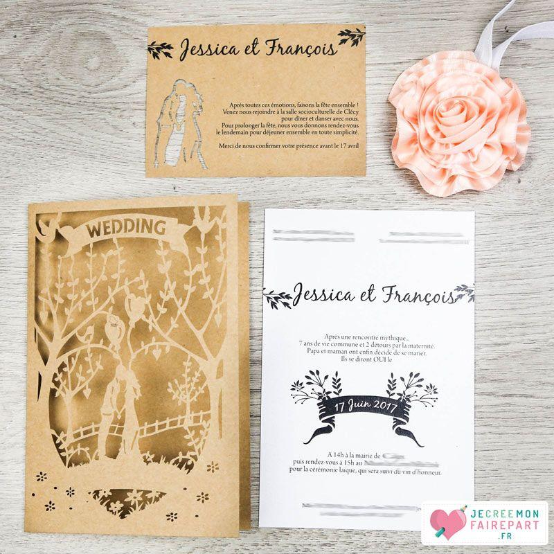 Faire-part mariage personnalisé – pochette laser cut – Amoureux Arbre