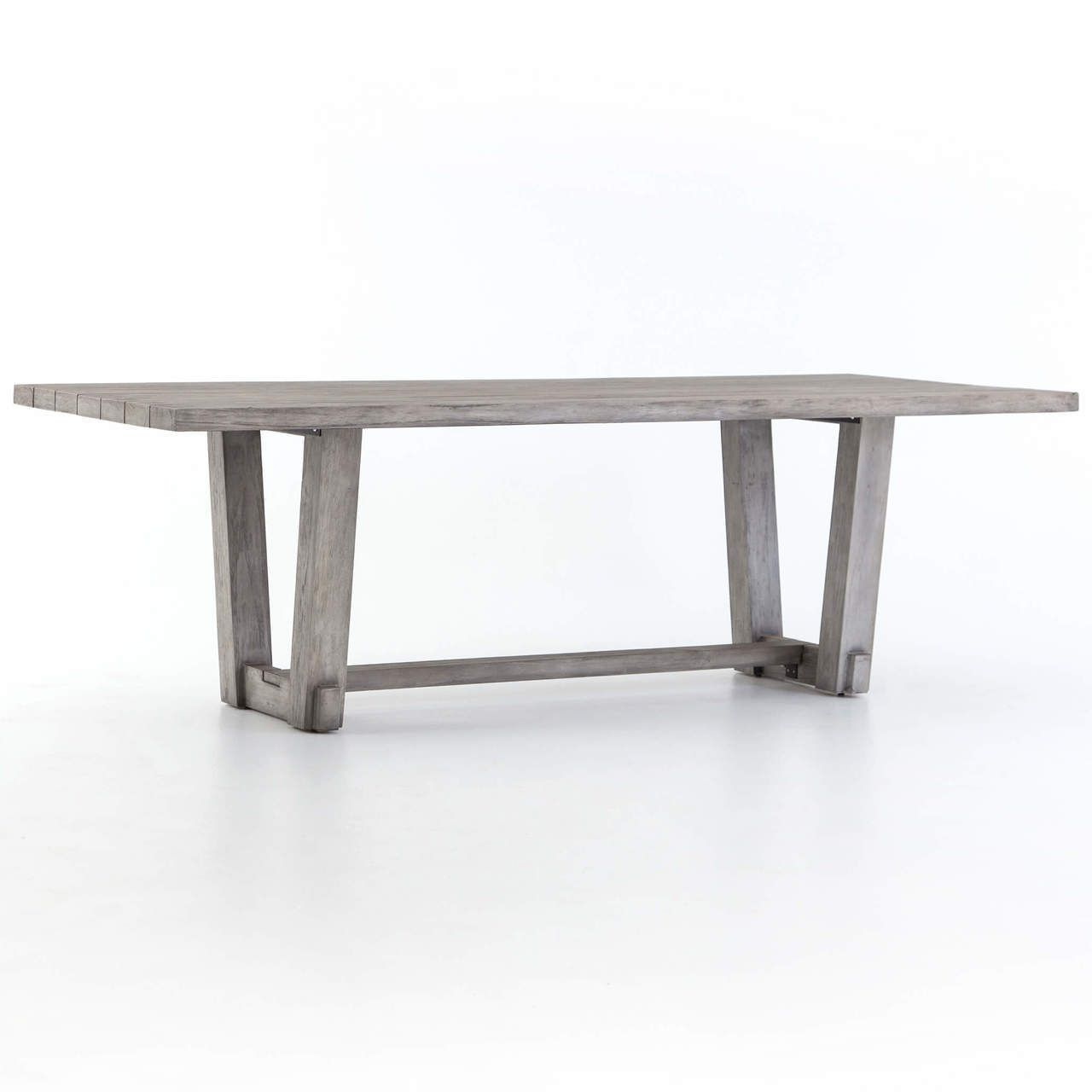 Dustin Weathered Grey Teak Slab Wood Dining Table Outdoor - Weathered teak outdoor dining table