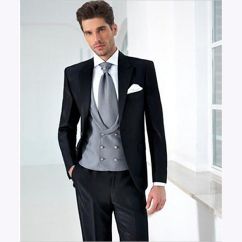 5pieces Black mens Suits Silver Vest Fashion Men Suit Bespoke Brand ...