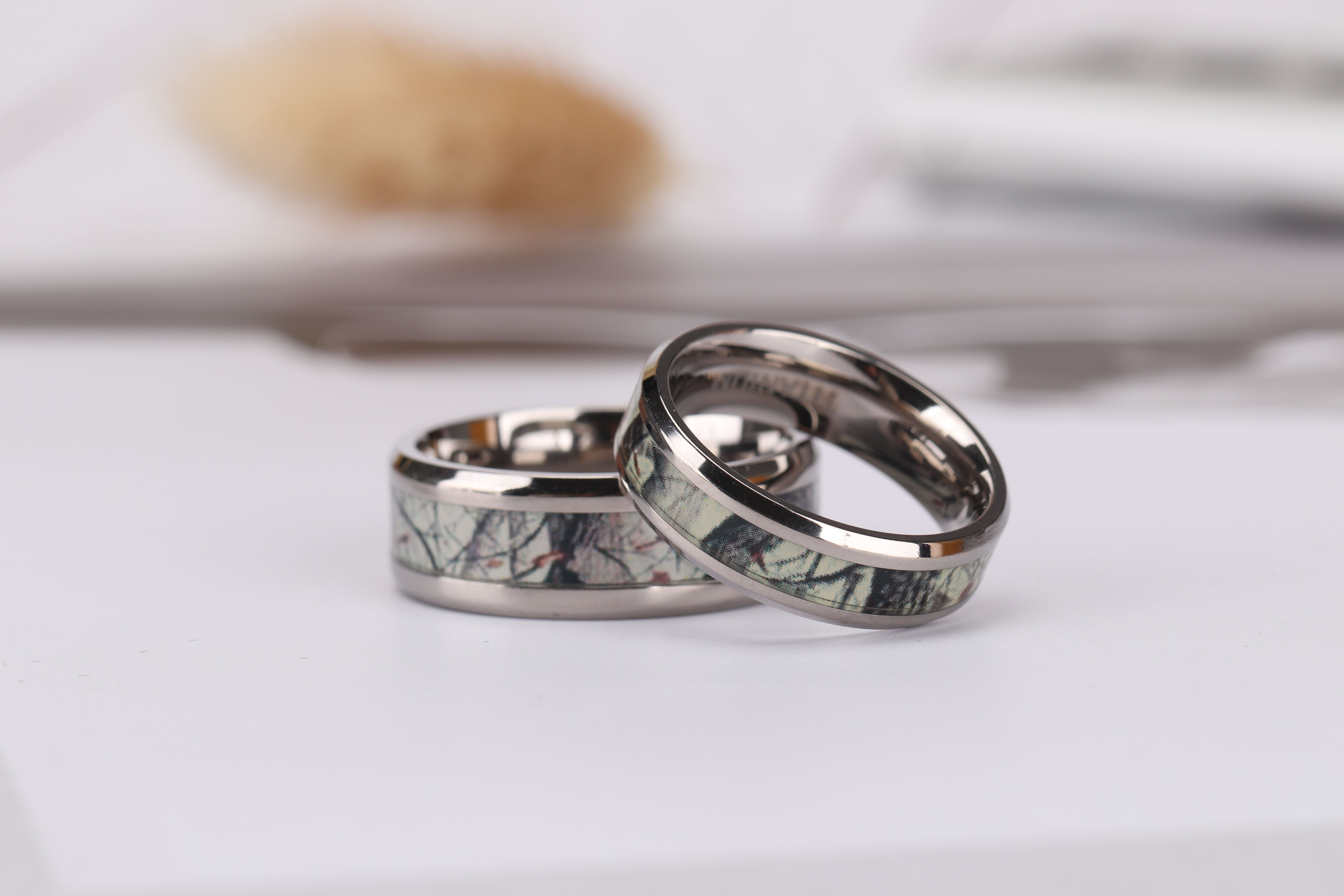Titanium Camo Wedding Bands for Him and Her 6mm 8mm Camo