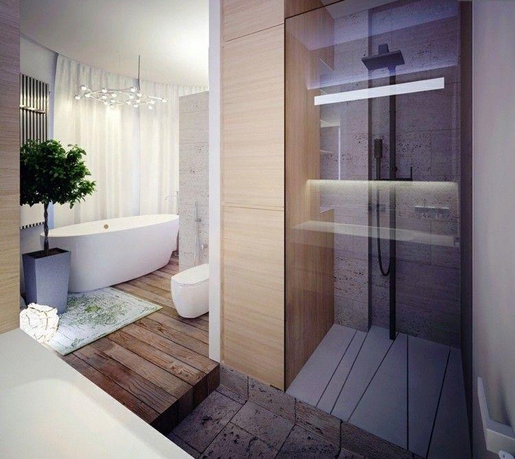 Badezimmer Design Holz Fussboden Stein Dusche Glas Modern