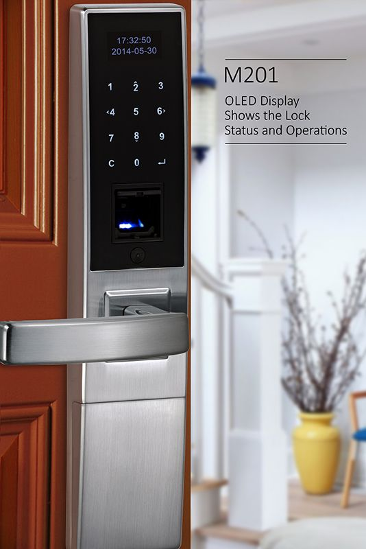M201 Oled Display Biometric Fingerprint Door Lock Fingerprint Door Lock Door Locks Smart Door Locks