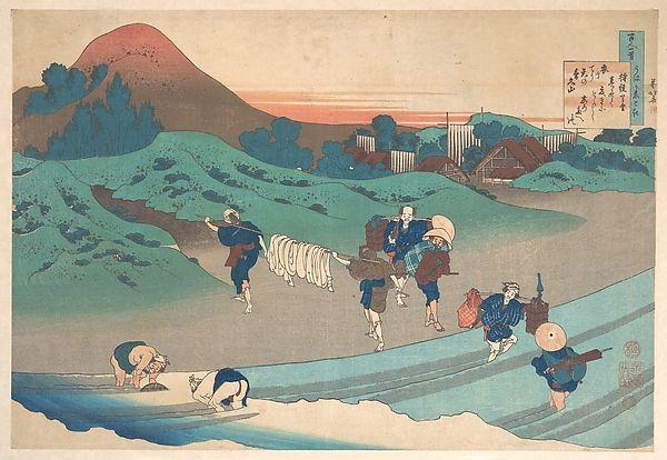 Poem by Jitō Tenno (Empress Jitō), from the series One Hundred Poems Explained by the Nurse. Artist: Katsushika Hokusai (Japanese, Tokyo (Edo) 1760–1849 Tokyo (Edo)) Period: Edo period (1615–1868) Date: 1839 Culture: Japan Medium: Polychrome woodblock print; ink and color on paper