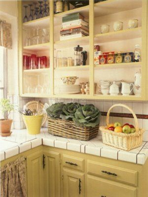 Create an open storage look The kitchen cabinets in my rental were