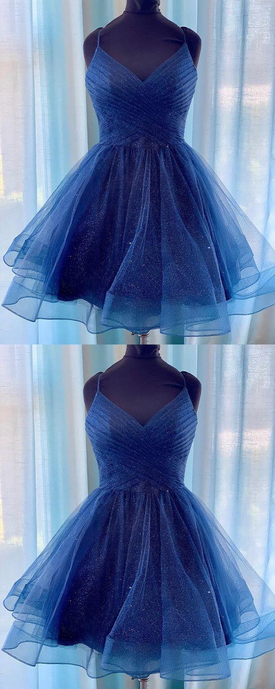 Shiny V Neck Navy Blue Short Prom Dresses Homecoming Dresses, V Neck Navy Blue Formal Graduation Evening Dresses,357