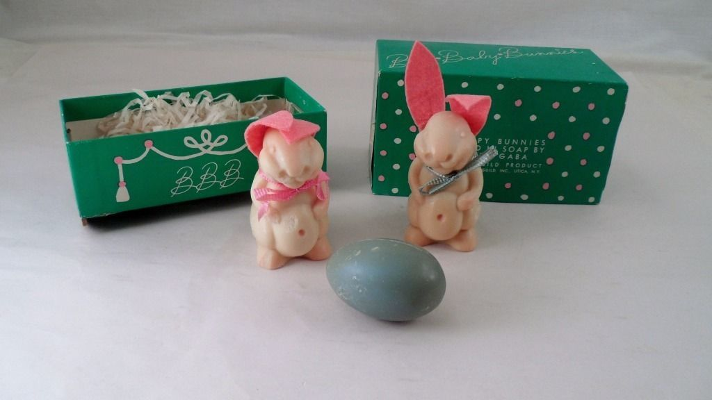 RARE 1920s Bye Baby Bunnies Carved Lester Gaba Soap Rabbits Egg in Cradle Box in Collectibles, Vanity, Perfume & Shaving, Other Vanity Collectibles | eBay