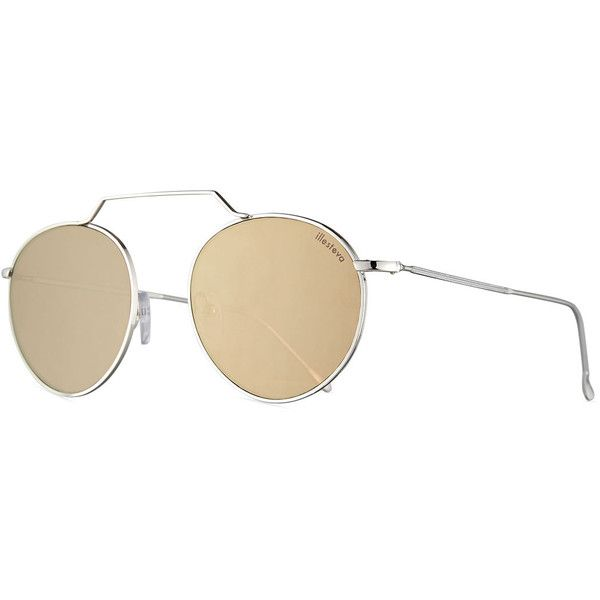 56a04393a319c Illesteva Wynwood III Round Mirrored Sunglasses (565 BRL) ❤ liked on  Polyvore featuring accessories
