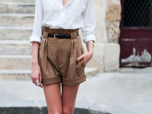 High waist baggy shorts. (I just cut an old pair of school uniform ...