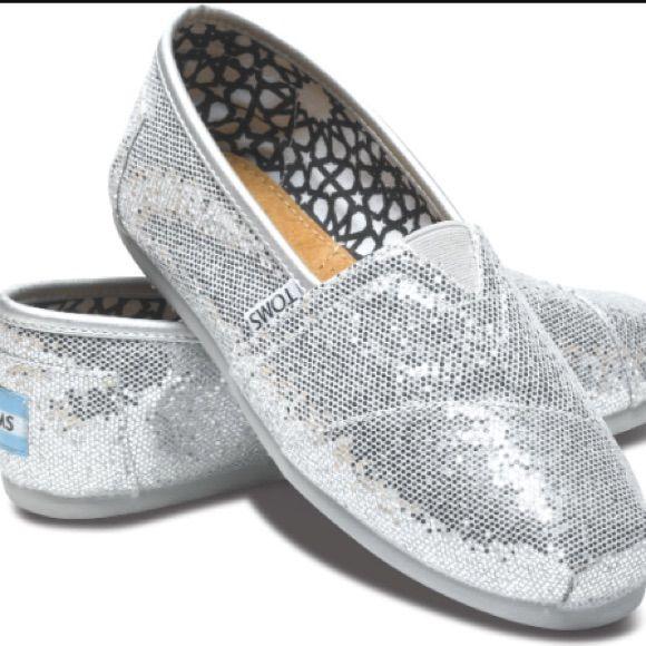 Toms silver glitter slip ons flats